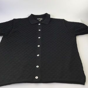 Style & Co. Women Black Textured Top 2X